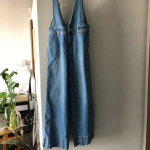 Free people wide leg, low waist overalls